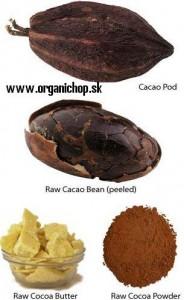 nepražené kakaové bôby